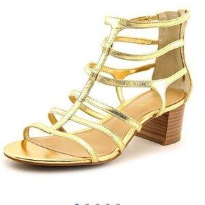 Ralph Lauren Gold Madge Gladiator Leather Sandals